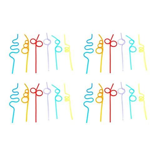 Lot de 24 Assortiment de couleurs Crazy Paille - obtenez Fun dans tous les SIP