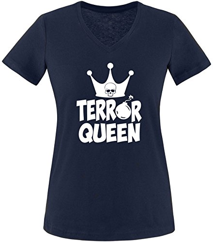 EZYshirt® Terror Queen Damen V-Neck T-Shirt Navy/Weiss
