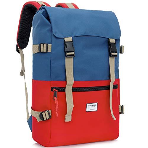 Laptop-Rucksack-Tasche 15-15.6 Zoll Damen Herren Unisex - wasserdicht Studenten Rucksack Schulrucksack Daypacks Tagesrucksack für Outdoor Sport Freizeit Uni Blau Rot