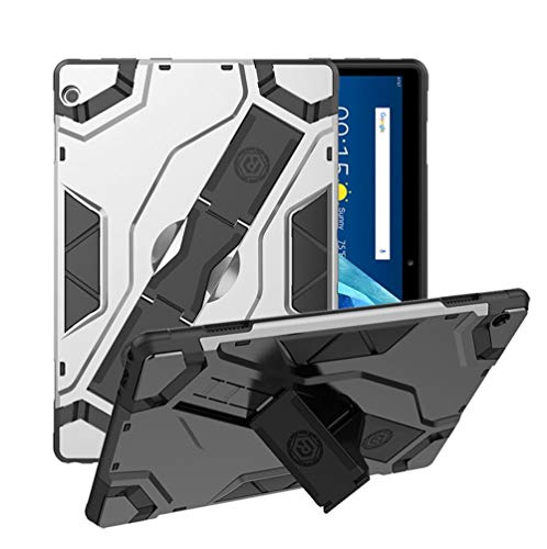 Robustrion Armor Series Rugged Armor Kickstand Case Cover for Lenovo Tab M10 - Silver