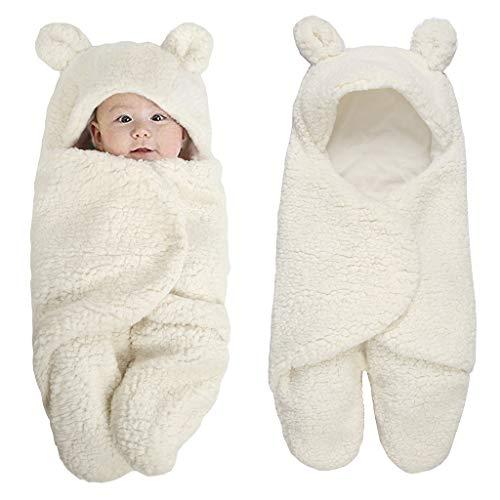 Guoyy Neugeborenen Babydecke Swaddle Wrap Universal Winter Baumwolle Plüsch mit Kapuze Schlafsack...