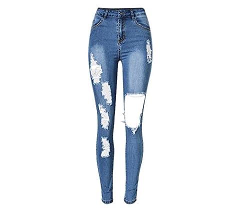 Byjia Femmes Jeans Haute Taille Étirée Frayed Denim Stretchy Disco Skinny Slim Pencil Trouser Zipper Pantalon Leggings . Blue . 42