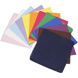 BMC 12pzas Multicolor Tela De Algodón Extra Grande 53.3cm Cuadrado Pañuelos - algodón, Clásico, 100% algodón, Para Mujer, Extra Grande