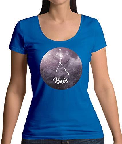 Sternzeichen - Krebs - Damen T-Shirt mit Rundhalsausschnitt - Royalblau - M - Krebs Frauen T-shirt