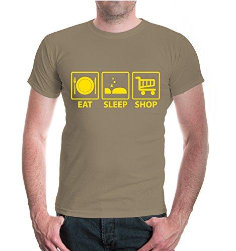 buXsbaum® T-Shirt Eat Sleep Shop Khaki-Sunflower