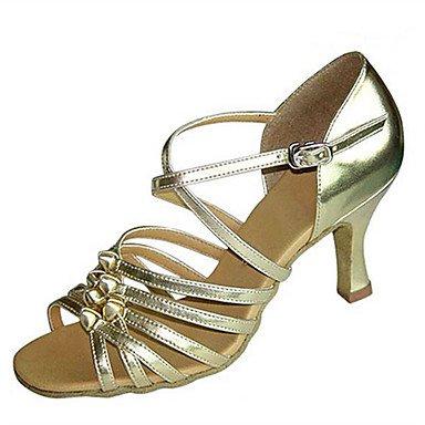 XIAMUO Anpassbare Damen Tanz Schuhe Satin Kunstleder Latin Jazz Swing Salsa  Schuhe Sandalen Fersen angepasste HeelPractice Schwarz