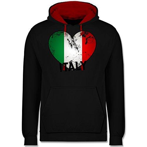 Länder - Italien Herz Vintage - Kontrast Hoodie Schwarz/Rot