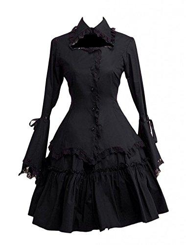 Cemavin Gothic Lolita Kleid Black lange Hime Ärmeln Rüschen Trim Baumwolle Lolita Einteiler Spitzenkleid (Lange Ärmel Rüschen Baumwolle)