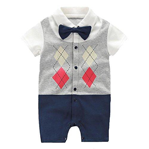 Fairy Baby coole baby strampler jungen kurzarm outfits babymode neugeborenen sommerstrampler einteiler babyglück bodys, Einlagiges Plaid, 9-12 monate (Kurzarm-anzug Baumwolle)