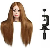 Maniquí de Cabeza para practicas de peluquería con cabello pelo real 80% 56cm (con