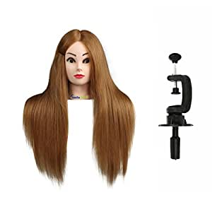 Training Hair Mannequin Manikin Dolls Head, CoastaCloud Practice Hair Training Head Cosmetology Hairdressing with Table Clamp, Professional Use for Students, Hairdressers, Hair Stylist