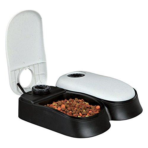 Wangado - Distributore automatico per cibo con timer e 2 ciotole da riempire e programmare separatamente - adatto per cani di piccola taglia e gatti.