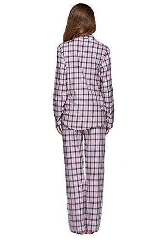 Frauen-Baumwolle Plaid Pyjama Set Langarm Knopf nach unten Flanell Lounge Nachtwäsche Rosa