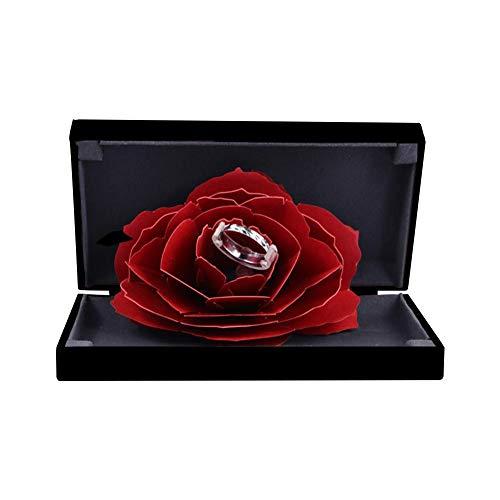 createjia Boîte-cadeau pour fiançailles de boîte à bijoux, Boîte à bagues de rangement pour bijoux en forme d'anneau