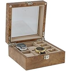 8Paar Manschettenknöpfe und 4-teiliges Armbanduhr Sammler Box in Licht Wurzelholz von aevitas