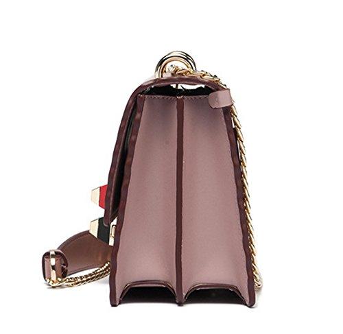 Xinmaoyuan Borse donna lo spallamento piccolo pacchetto di Piazza Catena di metallo di Vacchetta Borsette,Nero Rosa