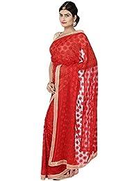 Ethnic Bliss Lifestyles Chiffon Phulkari Jaal Saree (Ethnic Bliss Lifestyles Phulkari Red Saree _Red)