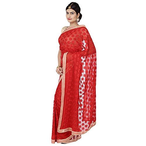 Ethnic Bliss Lifestyles Chiffon Phulkari Jaal Saree (Ethnic Bliss Lifestyles Phulkari Red...