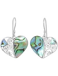 ERCE Paua/ Abalone Muschel Ohrringe Herz, 925 Sterling Silber, Länge 3 cm im Geschenketui