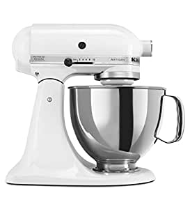 KitchenAid Artisan 5KSM150PSDWH 10 Speed 4.7 Litre (5Qt) 300 Watt Tilt Head Stand Mixer with Flat Beater, Dough Hook, Whisk, Stainless Steel Bowl & Pouring Shield (White)