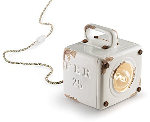 ferroluce rétro Lanterne Industrial, céramique 20 x 18 x 15.5 cm blanc brillant