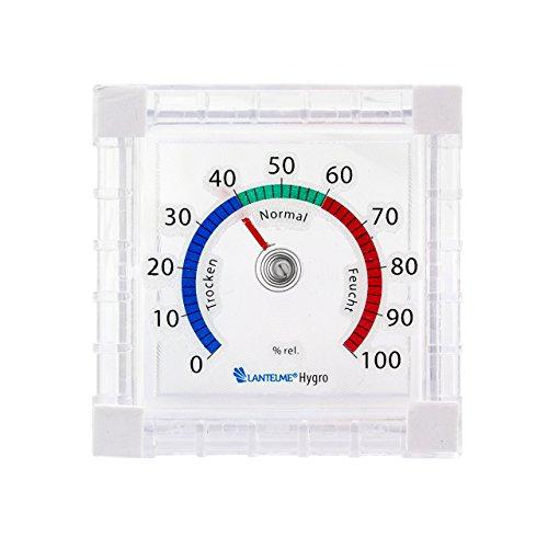Lantelme 6444 Fenster Hygrometer - Fensterhygrometer Analog leicht fluoreszierend