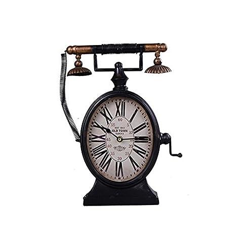 Meubles de style européen Fer Industrial Wind American Village Téléphone Horloge