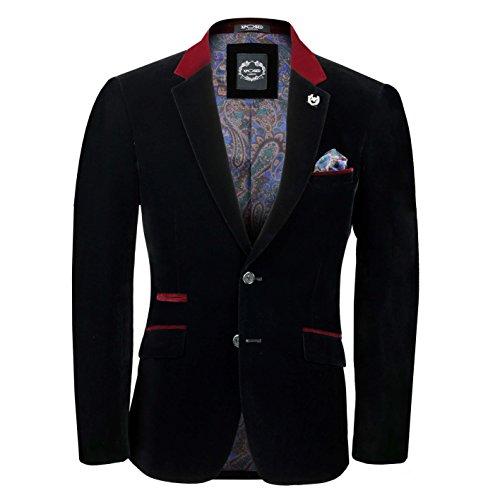Xposed Mens Black Velvet Vintage 3 Piece Suit Blazer Waistcoat Trouser, Sold Separately