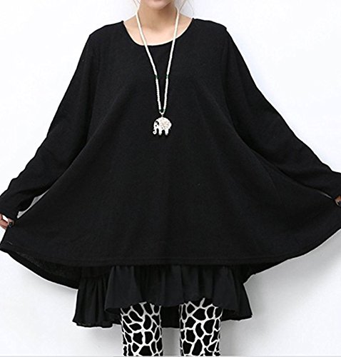 Donna Maglione Invernale Maglia Pizzo Vestito Corto Elegante Casual Moda Maniche Lunghe Autunno Un Abito Nero