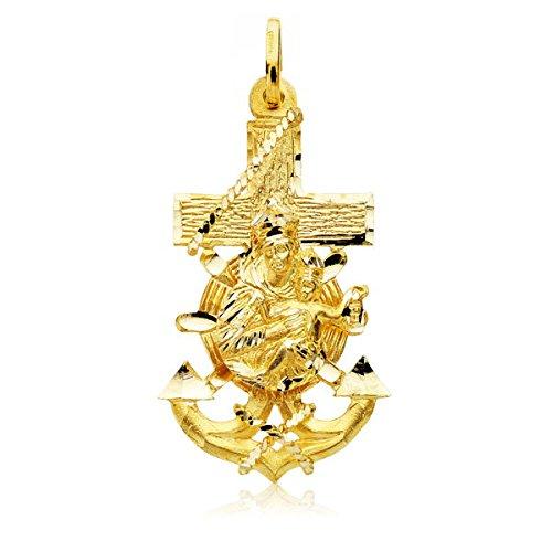 Colgante Cruz Marinera Virgen del Carmen Oro 9 K