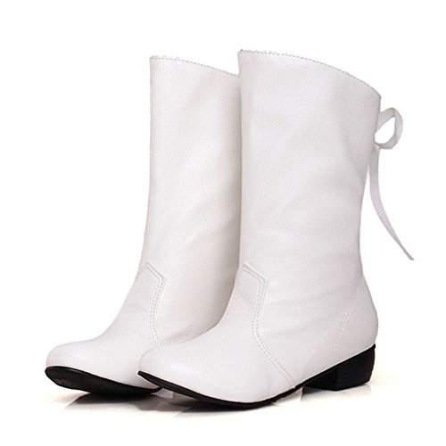 RAZAMAZA Femmes Mi-Bottes Western Bottines Automne Lacets Arriere white