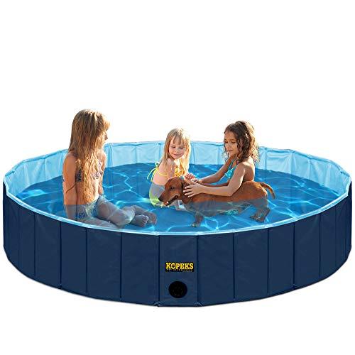 KOPEKS Faltbar und Mobiles Swimming Pool Plantschbecken Hundepool 160 x 30 cm, Extra groß XL - XXL - Dunkelblau und Hellblau (Pool Aufblasbare Extra Große)