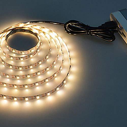1 stück 5 V 1 Mt 60 LEDs USB Kabel Power LED Streifen Licht Lampe SMD 3528 Weihnachten Schreibtisch Dekor Lampe Band Für TV Hintergrundbeleuchtung, Warm_White -