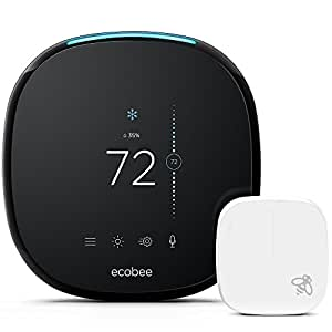 ecobee4 Alexa-Enabled Thermostat with Sensor, Compatible with Alexa