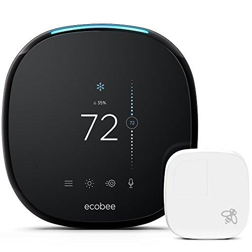 """Ecobee ecobee4- Pack termostato inteligente + sensor de ambiente, con pantalla táctil LCD a color de 3.5 """", 320x480 píxeles, 10,2 x 2,5 x 10,2 cm, color negro y blanco"""