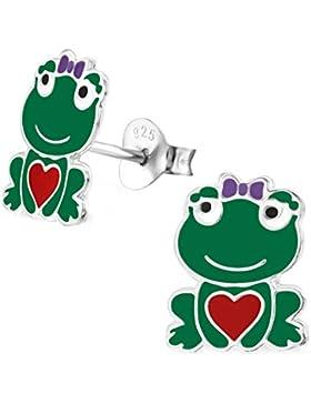 SL-Silver Ohrringe Kinderohrringe kleiner Frosch mit Herz 925 Silber in Geschenkverpackung