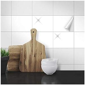 Wandkings Fliesenaufkleber - Wähle eine Farbe & Größe - Weiß Glänzend - 15 x 20 cm - 20 Stück für Fliesen in Küche, Bad & mehr