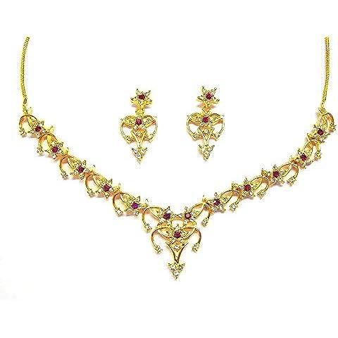 Sempre London-Collana placcata oro 18 k con rubino Siri, motivo con motivo in grado AAA-Orecchini di cristallo austriaco & diamanti per bambina, da