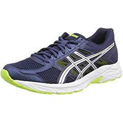 Asics Gel-Contend 4, Zapatillas de Running Para Hombre, Azul (Dark Blue/Silver/Safety Yellow 4993), 42 EU