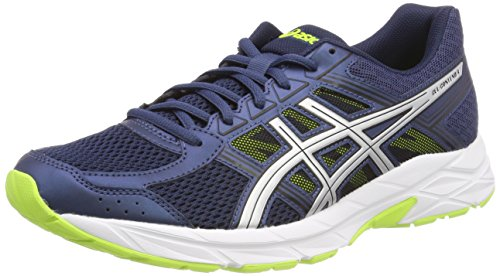 Asics Gel Contend 4, Zapatillas de Entrenamiento Para Hombre, Azul (Dark Blue/Silver/Safety Yellow 4993), 43.5 EU