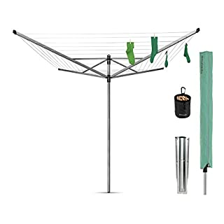 Brabantia Lift-O-Matic Rotary Airer  Washing Line with 45mm Metal Soil Spear and  Accessories, 50 m - Silver