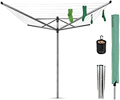 Brabantia Lift-O-Matic Rotary Airer with Accessories, 50 m - Silver