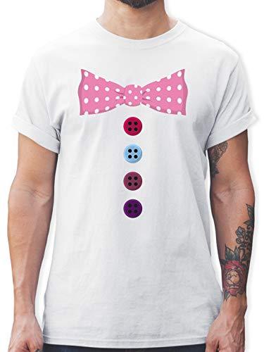 Karneval & Fasching - Clown Kostüm rosa Fliege - L - Weiß - L190 - Herren T-Shirt und Männer Tshirt (Klassische Weiß Clown Kostüm)