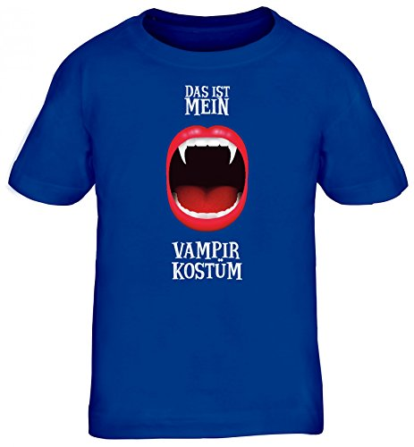 ShirtStreet Fasching Karneval Kids Kinder T-Shirt mit Das ist Mein Vampir Kostüm 1 Motiv, Größe: 110/116,Royal - Royal Vampir Kind Kostüm