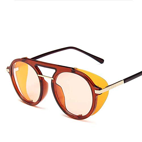 FIRM-CASE Marke Runde Steampunk Sonnenbrille Männer Frauen Retro Siamese Sonnenbrillen Lady Gradient Lens Brillen, 1