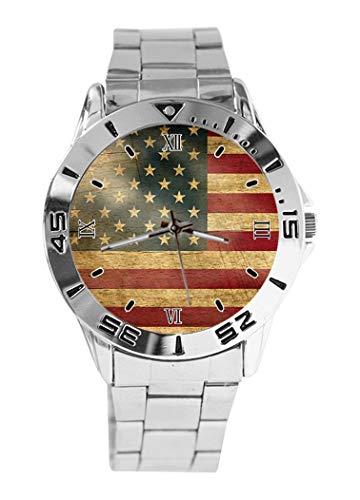 Vintage USA Flagge USA Holz Pergament Design Analog Armbanduhr Quarz Silber Zifferblatt Klassisch Edelstahl Band Damen Herren Armbanduhr -