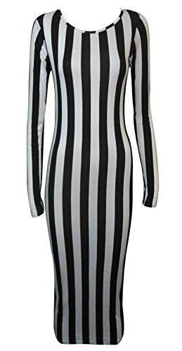 Fashion 4moins New femmes à manches longues robe Midi Bodycon Imprimé. UK 8–14 rayé