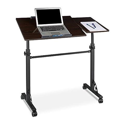 Relaxdays Table ordinateur portable hauteur réglable roues table bout de canapé lit bois- noir- HxlxP : 110 x 100 x 50