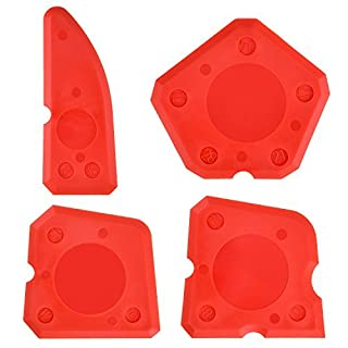 4 Pieces Caulk Tool Kit Sealant Silicone Finishing Tools Caulking Tools for Silicone Sealant Grout Finishing Sealing (Red)