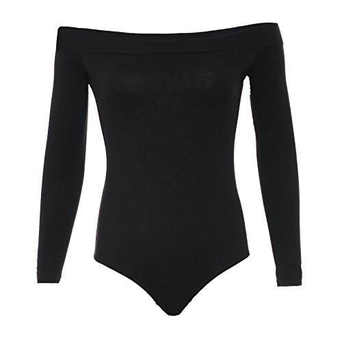 Fast Fashion Damen Bodysuit Plain Langen Ärmeln Weg Schulter Dehnba Schwarz